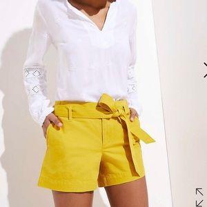Mustard tie waist LOFT shorts